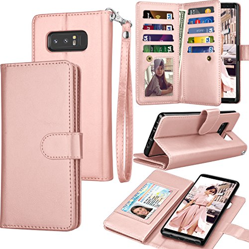 Tekcoo For Galaxy Note 8 Wallet Case, Tekcoo Samsung Galaxy Note 8 PU Leather Case, Luxury ID Cash Credit Card Slots Holder Carrying Flip Cover [Detachable Magnetic Hard Case] & Kickstand - Rose Gold by Tekcoo (Image #1)