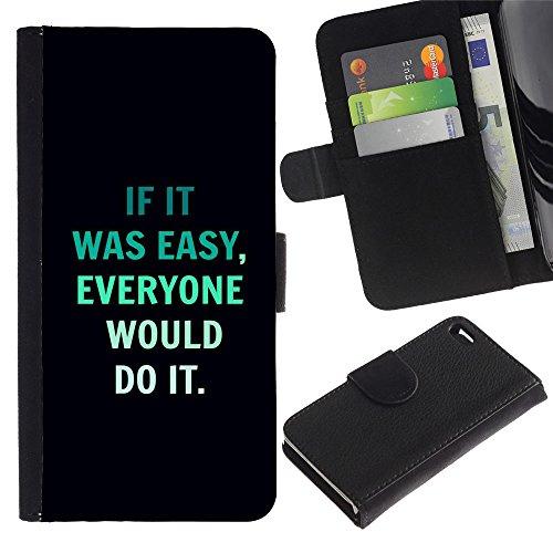 LASTONE PHONE CASE / Luxe Cuir Portefeuille Housse Fente pour Carte Coque Flip Étui de Protection pour Apple Iphone 4 / 4S / motivational quote inspiring text black