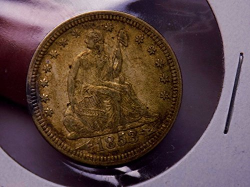 Seated Quarter 1853 Arrows and Rays Ultra Rare UNC+ Toned WOW COIN ORIGINAL