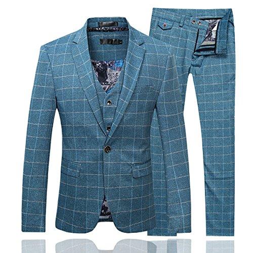 Men%27s+Plaid+Modern+Fit+3-Piece+Suit+Blazer+Jacket+Tux+Vest+%26+Trousers%2CBlue%2CX-Large