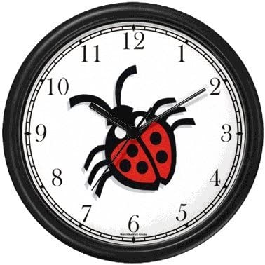 Ladybug Ladybird Insect – Animal Wall Clock by WatchBuddy Timepieces Hunter Green Frame