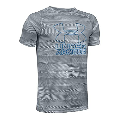 Under Armour Boys' Big Logo Printed T-Shirt, Steel/Ultra Blue, Youth Large (Ultra Blue)