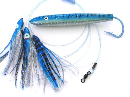 6 In. Holographic Blue and White Cedar Plug Daisy Chain Saltwater Fishing Lure for Tuna Mahi Wahoo Marlin