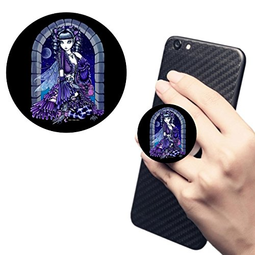Gothic Pedestal - Cell Phone Holder.Pop Expanding Stand and Grip Socket Multi Function Holder Mount for smart phone and tablet Mia Gothic Victorian Cat Fairy(black)