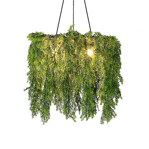 FF Chandelier Wrought Iron Chandelier Simulation Green Plant Chandelier Bedroom Living Room Warm Party Chandelier (Color : Green, Size : 606045CM) ()