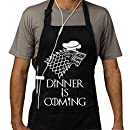 Grill Aprons Kitchen Chef Bib - Famgem Dinner is Coming Professional for BBQ, Baking, Cooking for Men Women/100% Cotton, Adjustable 3 Pockets, Black