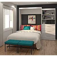Bestar Furniture 26881-17 Pur 101 Queen Wall Bed Kit Including Three Drawers with Simple Pulls in