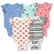 Rosie Pope Baby 5 Pack Bodysuits (More Colors Available), Flamingo/Swimmers/Stripes/Seashells/Aqua, 6-9 Months