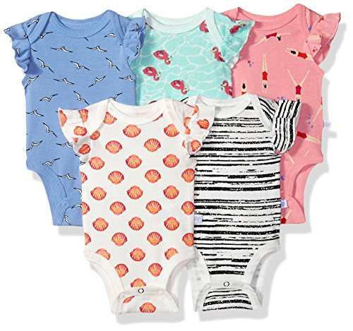 Rosie Pope Baby 5 Pack Bodysuits (More Colors Available), Flamingo/Swimmers/Stripes/Seashells/Aqua, 0-3 Months (Seashell Stripes)