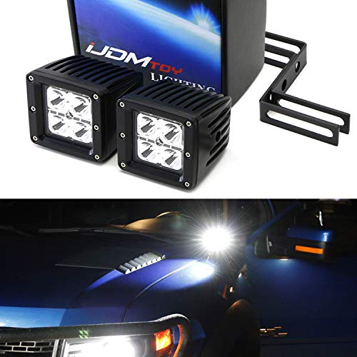 (iJDMTOY A-Pillar LED Pod Light Kit For 2009-14 Ford F150 and Raptor, Includes (2) 20W High Power CREE LED Cubes, Windshield A-Pillar Mounting Brackets & On/Off Switch Wiring Kit)