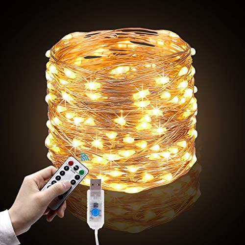 Mgrett Lichtsnoer, 10 m, 100 leds, waterdicht, 8 modi, met afstandsbediening, voor binnen en buiten, geschikt als…