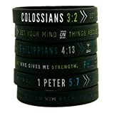 DEO JEWELRY 6-Pack Bible Verse Wristbands Philippians 4:13, Colossians 3:2, 1 Peter 5:7'' Religious gift for Men