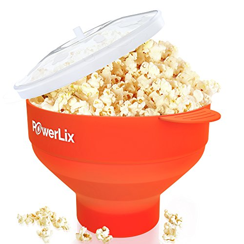 The Original PowerLix Microwave Popcorn Popper, Silicone Popcorn Maker Collapsible Bowl, BPA Free, Hot Air Popcorn Maker - Free e-Book Include (Red) ()