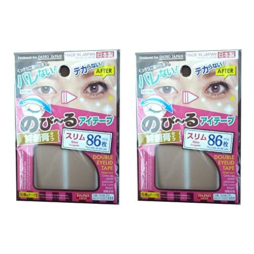 DAISO JAPAN Natural Double Eyelid Nudy Tape Slim | 86 pcs | Bandage type (Set of 2)