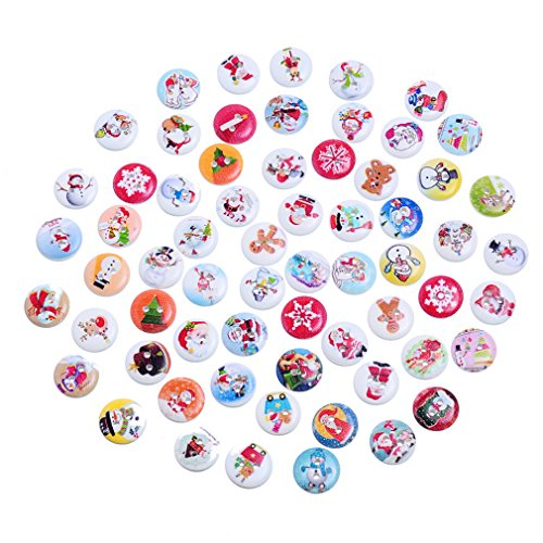 Souarts Mixed Rrandom Christmas Series 2 Holes Scrapbooking Sewing Round Wooden Button Pack of (Christmas Buttons)