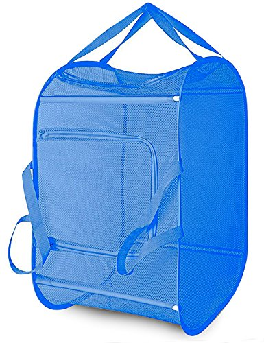 Daly Kate Pop-Up Mesh Laundry Hamper Basket with Double Opennings and Reinforced Handles Blue