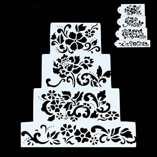Vibola 4PCS DIY Birthday Flower pattern Cake Spray Mold Decorating Sugar Sieve Sugar Craft