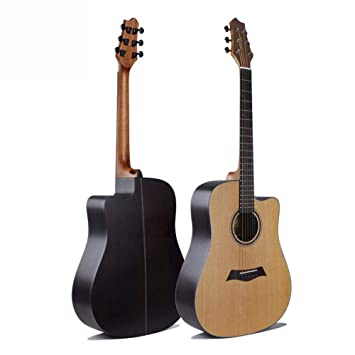 Hjyi Guitarra acústica Balada Solo Tablero Guitarra Abeto Cara Solo Rosewood Nuez Madera Esquina Redonda (41 Pulgadas): Amazon.es: Jardín