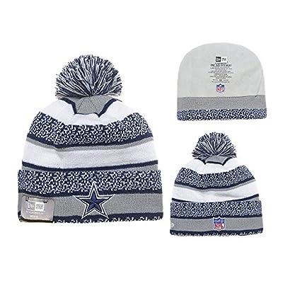Dallas Cowboys Grey White Stripe Pom Pom Warm Slouch Knit Beanies