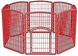 IRIS 34'' Exercise 8-Panel Pet Playpen with Door, Red