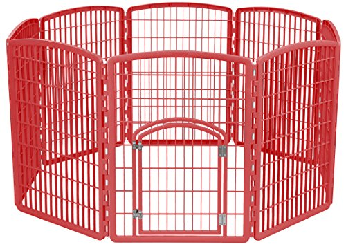 Pet Exercise Pens Midwest - IRIS 34'' Exercise 8-Panel Pet Playpen with Door, Red