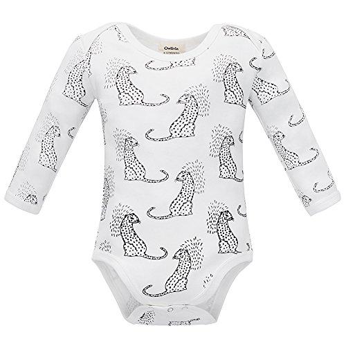 Owlivia Organic Cotton Baby Boy Girl Long Sleeve Bodysuit (6-12 Months, Leopard)