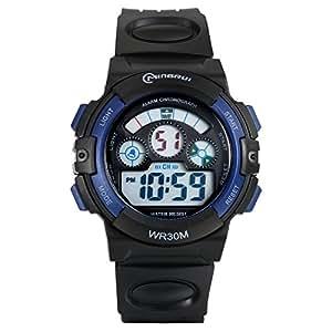 Lancardo Reloj Deportivo Digital de Multifunción con Luces Pulsera Electrónica Resistente al Agua de 30m para Actividad Deportes Exteriores para Chicos Estudiantes (Azul)