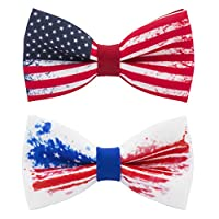 Bow Tie House US flag bow tie 4th of July - pre-tied patriotic pattern +gift box