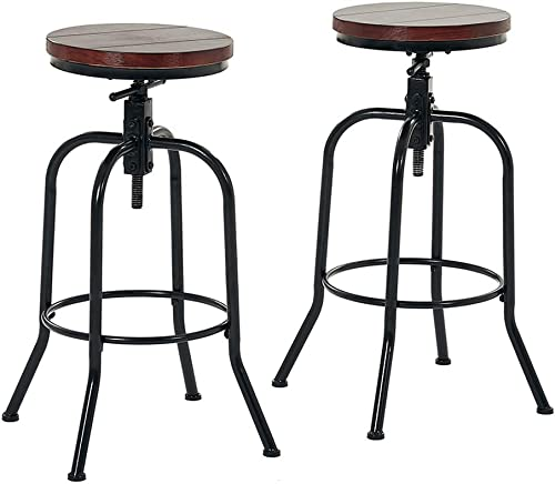 Joelgium Adjustable Swivel Bar Stools for Kitchen Counter,Rustic Counter Height Bar Stools Set of 2 – Natural Wood Seat – Rustic Brown 035