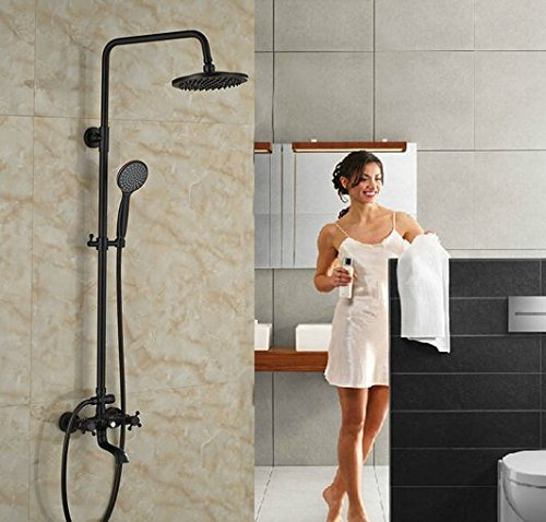 GOWE Luxury Bath Tub Shwoer Set Oil Rubbed Bronze Shower Faucet Double Lever With Handheld Exposed by Gowe