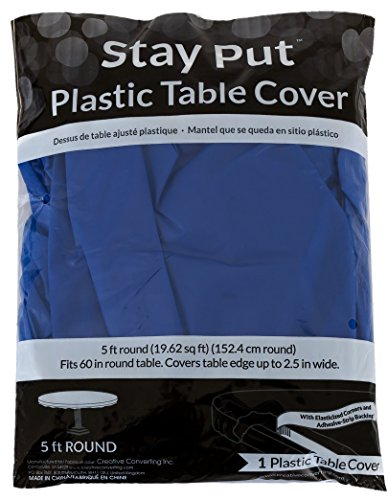 Creative Converting Round Stay Put Plastic Table Cover, 60-Inch, Royal Blue, 12 Packs]()