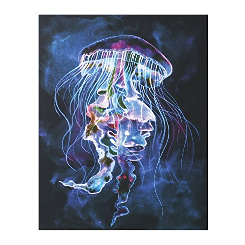 "WHAT ON EARTH Led Light Up Jellyfish Picture - Canvas Wall Art - 15.75"" x 19.75"""