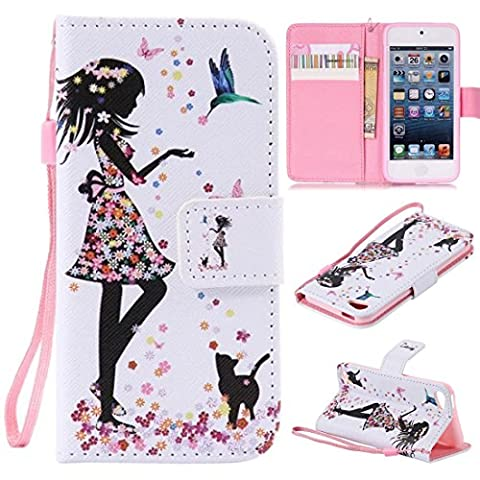 iPod Touch 6 Case, iPod Touch 5 Case, Lwaisy [Wrist Strap] [Stand] Premium PU Leather Wallet Phone Case Flip Cover Built-in Card Slots for Apple iPod Touch 5 6th Generation (Cat (Ipod 6th Generation Strap)