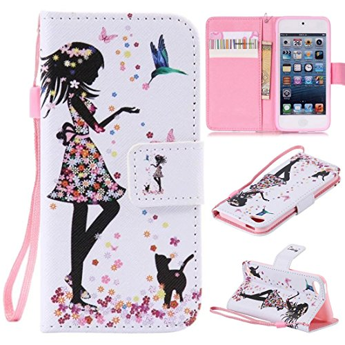 iPod Touch 6 Case, iPod Touch 5 Case, Lwaisy [Wrist Strap] [Stand] Premium PU Leather Wallet Phone Case Flip Cover Built-in Card Slots for Apple iPod Touch 5 6th Generation (Cat Girl)
