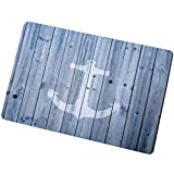 Entrance Mat Floor Mat Rug Indoor/Bathroom Thin Mats Rubber Non Slip Blue Nautical Anchor Rustic Old Barn Wood