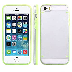Suppion Brand New Ultra Thin Transparent Gel Skin Hybrid Case Cover Luminous Glow for Iphone 5s (Green)