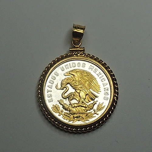 """Mexican """"Eagle"""", """"Half dollar size"""" Gorgeously 2-Toned (Uniquely Hand done) Gold on Silver coin Pendants - Charms Necklaces for women men girls girlfriend boys jewelry making bracelets"""