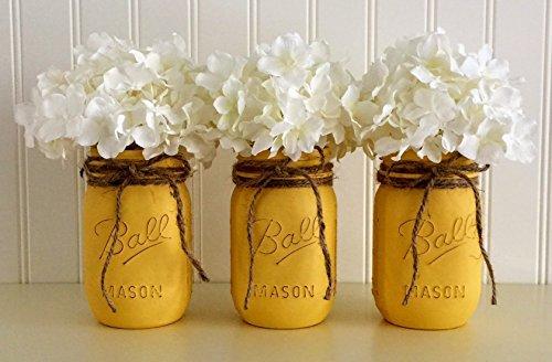 Mason Jar Set - 3 Piece, Yellow, Centerpiece by Sunday Bowtique