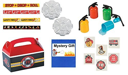 Fireman/Hero/ Fire Awareness Party Favor Bundle Set for 12 (includes Badges, Mini Fire Extinguisher Putty, Paper Bracelets,Tattoos & Treat Boxes) by Multiple ()