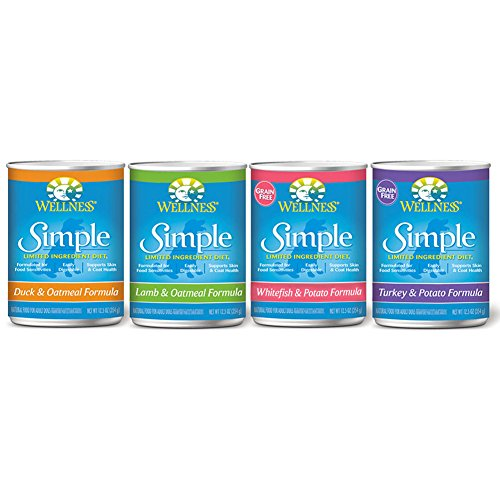 Wellness Simple Natural Limited Ingredients Wet Canned Dog Food (4 Flavors , 12 cans) (Wellness Limited Ingredient)