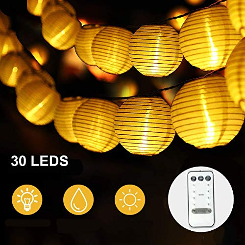 Lanterns String Lights,Battery Operated 30 Led Outdoor String Lights for Nylon with Remote Control ,Waterproof Indoor Outdoor Decorative Fairy Lights for Party, Garden, Wedding, Christmas and Holiday (Paper For Lights Lanterns String)