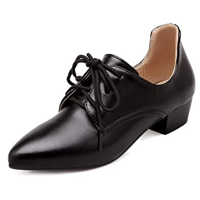 bdefe4d9403 GIY Women s Pointed Toe Wingtip Oxford Shoes Lace-up Classic Casual Flat  Low Heel Oxfords