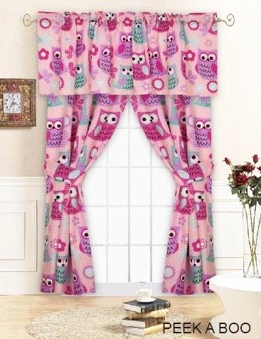 Pink Hoot OWL Curtain DRAPES SET 'PEEK A BOO' 5 Pieces Window Treatment (unlined) PANELS w/2-Tiebacks) + VALANCE (18