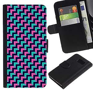 All Phone Most Case / Oferta Especial Cáscara Funda de cuero Monedero Cubierta de proteccion Caso / Wallet Case for Samsung Galaxy S6 // Teal Pink Black Pattern Zig Zag
