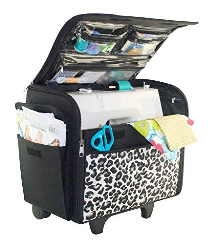 Everything Mary Cheetah Print Rolling Sewing Machine Tote - Sewing Machine Case Fits Most Standard Brother & Singer Sewing Machines, Sewing Bag with Wheels & Telescoping Handle - Portable Sewing Case