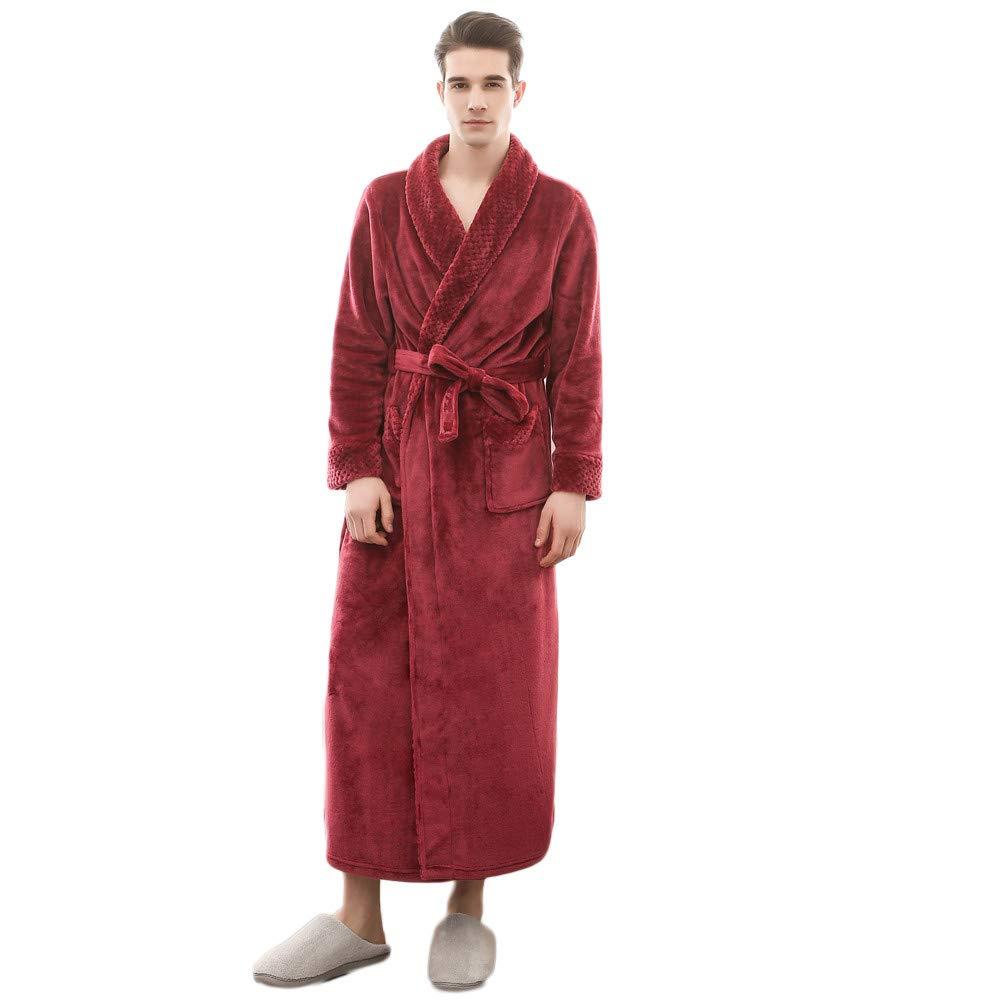 iHENGH Woman Men's Winter Lengthened Sleepwear Coralline Plush Shawl Bathrobe Long Sleeved Robe Coat iHENGH clothing 01