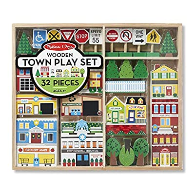 Melissa & Doug Wooden Town Play Set (Vehicles, Wooden Streetscape, Sturdy Wooden Construction, Storage Tray, 32 Pieces, Great Gift for Girls and Boys - Best for 3, 4, 5 Year Olds and Up): Toys & Games