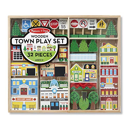 "Melissa & Doug Wooden Town Play Set, Vehicles, Wooden Streetscape, Sturdy Wooden Construction, Storage Tray, 32 Pieces, 17"" H x 14.6"" W x 2.2"" L"