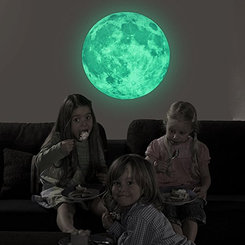 Judek 30cm Bedroom Glow in the Dark Full Moon Light Luminous Wall Art Stickers and Stars Removable Decorations. (green) (How To Transfer Pokemon)