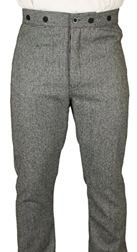 Grey Wool Trousers (Historical Emporium Men's High Waist 100% Wool Tweed Ritter Dress Trousers 38 Black/White)